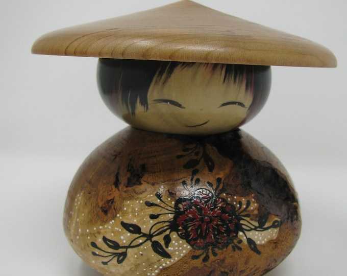 Cherry Burl kokeshi with hat