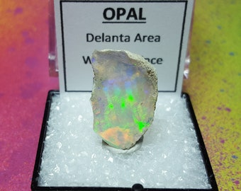 Sale OPAL Natural Rainbow Flash Desert Opal Gemstone Mineral Specimen In Perky Display Box From Ethiopia