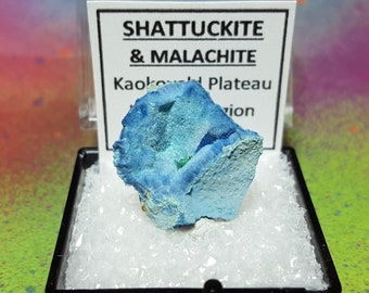 Sale SHATTUCKITE And Malachite Natural Bright Blue Mineral Specimen In Perky Box From Namibia