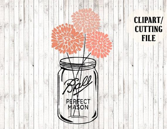 Mason Jar Svg Floral Svg Mason Jar Clipart Silhouette Etsy