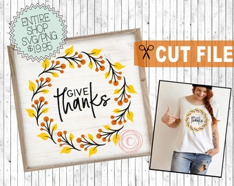 give thanks svg file, thankful cut files, give thanks to the Lord svg, thanksgiving sign svg, png clipart thanksgiving, fall wreath svg