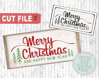 merry christmas and happy new year svg, svg christmas sayings, sign svg christmas, digital cut files, christmas printable, shirt design svg