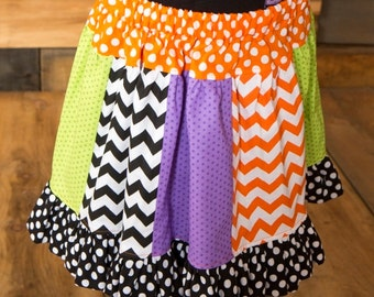 """Girls """"SPOoKLY PUmPKINS"""" collection Multi Panel Pieced twirly SKIRT  in sizes 6-12-18-24 mth 2T -3-4-5-6-8"""