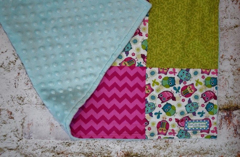 baby nursery bedding Custom Baby Girls blanket in Patchwork  Owls multi colored Pink  Green  Turquoise with minky backing *quilt throw
