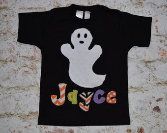 """Boys Custom """"SPOOKLY PUMPKINS"""" collection  GHOST personalized  tee  in sizes 6/12 - 12/18 - 18/24 mth 2T - 3/4 - 5/6 - 7/8"""