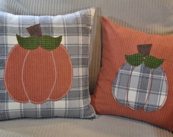 Grey & White plaid flannel with Rust Orange PUMPKIN Pillow Cover square 14x14 16x16  18x18  20x20 Fall Autumn Thanksgiving Home Decor