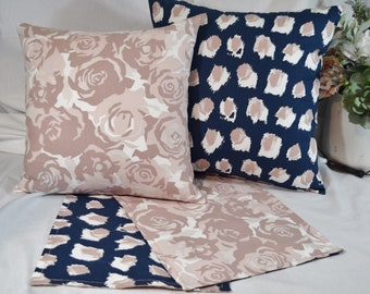 Table Topper Runner or Pillow Covers in Navy Pink Blush Mauve floral roses dots ikat 12x12  14x14  16x16  18x18  20x20 or 36 40 54 72 long