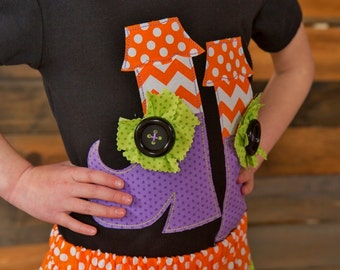 """Girls """"SPOoKLY PUmPKINS"""" collection WITCHY Shoes  tee  in sizes 6-12-18-24 mth 2T -3-4-5-6-8"""