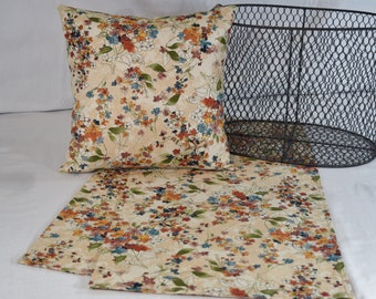 Table Topper Runner or Pillow Covers in Fall Ivory Rust Orange Blue Floral 14x14  16x16  18x18  20x20 or 36 40 54 72 inches long home decor