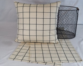 Table Topper Runner or Pillow Covers in Ivory Black Farmhouse windowpane plaid 14x14 16x16 18x18 20x20 or 36 40 54 72 inches long home decor