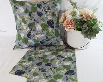 Table Topper Runner or Pillow Covers in  Blue Green Botanical Leaves Floral   14x14  16x16  18x18  20x20 or 36 40 54 72 inches long