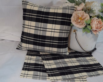Table Topper Runner or Pillow Covers in Ivory Cream Black Plaid 12x12  14x14  16x16  18x18  20x20 or 36 40 54 72 long farmhouse plaid