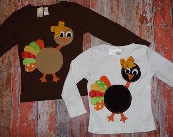 """Girls """"GOoBLE GOoBLE"""" Turkey collection Custom Turkey tee in sizes 6-12-18-24 mth 2-3-4-5-6-7-8-10"""