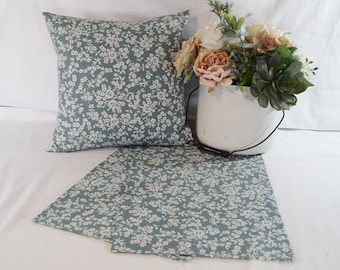 Table Topper Runner or Pillow Covers in  Blue Floral   14x14  16x16  18x18  20x20 or 36 40 54 72 inches long  light blue small flowers