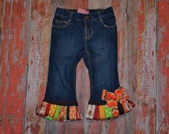 """Girls  """"GOoBLE GOoBLE"""" Turkey collection Custom ribbon fringe skirt or jeans in sizes 6-12-18-24 mth 2-3-4-5-6-7-8-10"""