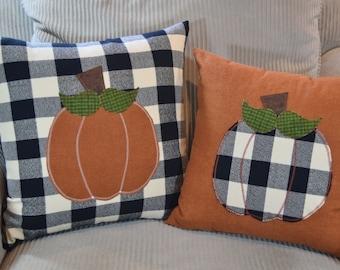 Black & Ivory Flannel Buffalo Plaid Rust Orange PUMPKIN Pillow Cover 14x14 16x16 18x18 20x20 Thanksgiving Autumn Fall Home Decor Herringbone