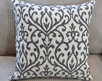 Ivory Black Woven print fabric Pillow Cover 12x12  14x14  16x16  18x18  20x20 envelope back or zipper opening made to order