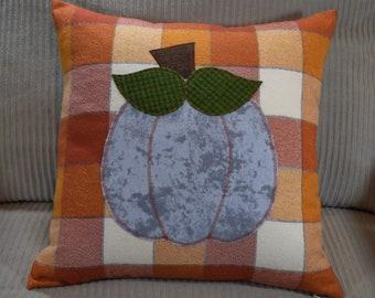 Fall Flannel Plaid PUMPKIN Pillow Cover 14x14  16x16  18x18  20x20 Light Dark Orange Rust Grey tie dye Thanksgiving Autumn home fall decor