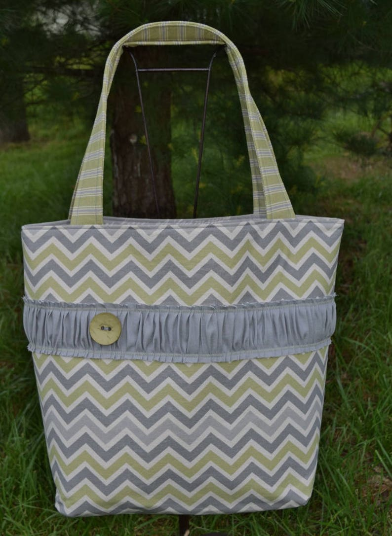 The OUT /& ABOUT Tote Bag Shabby Chic design in natural ivory  grey  green  prints extra large size