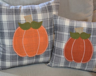 Grey & White plaid flannel with rust / orange Burlap PUMPKIN fabric Pillow Cover envelope back square 14x14 or 16x16 or  18x18  or 20x20