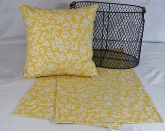 Table Topper Runner or Pillow Covers in Yellow White small Floral Flowers  14x14  16x16  18x18  20x20 or 36 40 54 72 inches long home decor