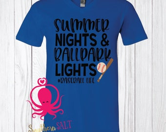 Summer Nights & Ballpark Lights T Shirt - Soft V Neck - Baseball Shirt