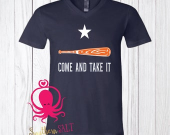 Come And Take It Baseball T Shirt - Soft V Neck - Baseball Shirt