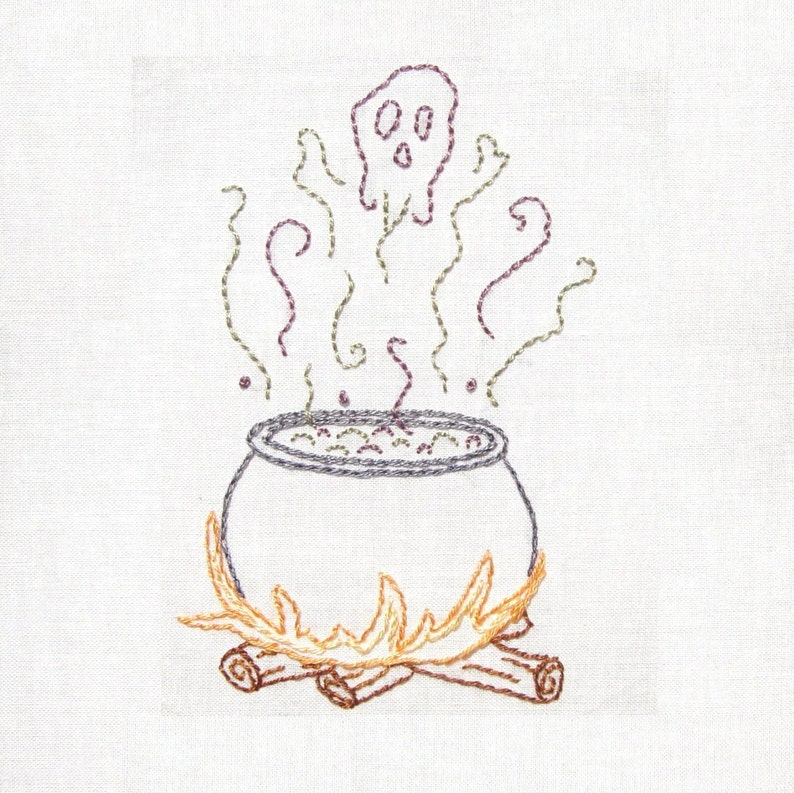 Witch's Cauldron Halloween Hand Embroidery Pattern PDF image 0