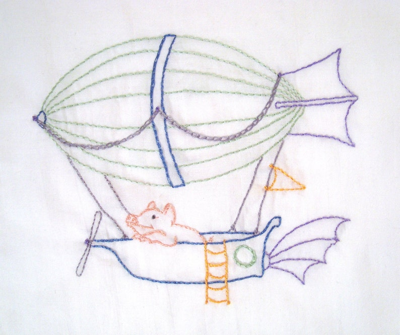 Flying Pig in Zeppelin Airship Hand Embroidery Pattern PDF image 1