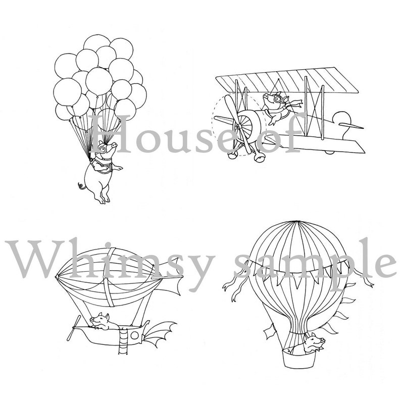 Set of 4 Flying Pig Hand Embroidery Patterns PDF Pigs in image 1