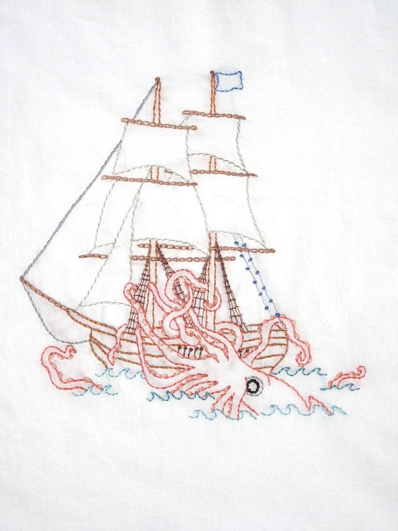 Kraken vs. Ship Hand Embroidery Pattern PDF image 0