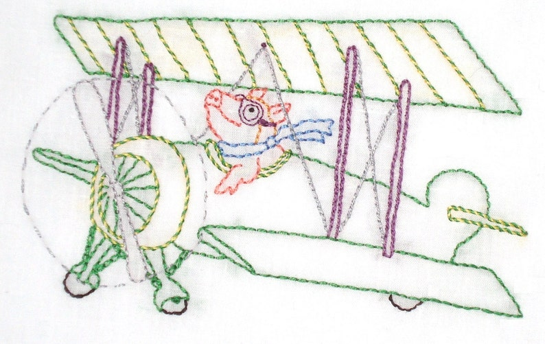 Flying Pig in Biplane Hand Embroidery Pattern PDF image 1