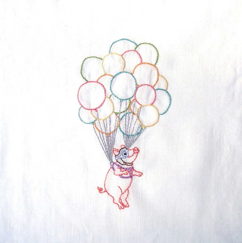 Flying Pig With Cluster Balloons Hand Embroidery Pattern PDF image 1