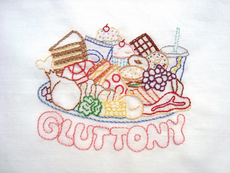 Gluttony Food Plate Hand Embroidery Pattern PDF: Seven Deadly image 1