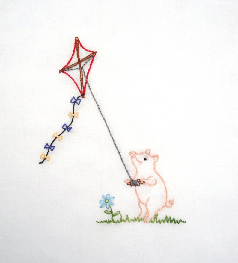 Pig Flying a Kite Hand Embroidery Pattern PDF image 1