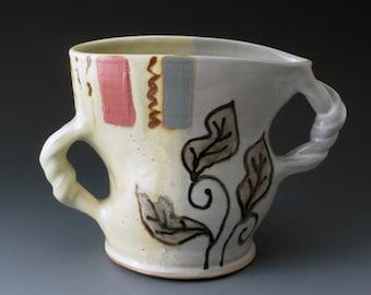 Ceramic Stoneware Vase, Dancing Vase with Leaf Motif, Flower Vase, Handmade Ceramic Vase, Vases, Utensils Holder, Vessel