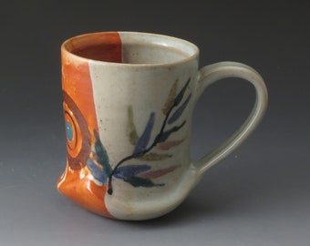 Handmade Coffee Cup, Ceramic Mug with Sprigs and Circle Motif, Tea Cup, Drinkware, Mugs, Fine Art Ceramics