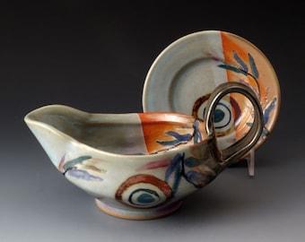 Handmade Gravy Boat, Ceramic Pitcher, Sauce Pitcher, Gravy Jug, Serving, Stoneware Pitcher