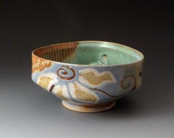 Handmade Triangular Ceramic Bowl with Flower Motif, Unique Shape, Unusual Design, Serving Bowl, Fine Art Ceramics