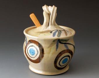 Sugar Bowl, Circles and Sprigs Motif, Handmade Ceramic Covered Jar, Lidded Sugar Bowl, Honey Jar, Fine Art Ceramics