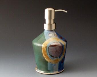 Soap and Lotion Dispenser, Handmade Ceramic Bottle, Blue and Green, Pump Bottle, Soap Dispenser, Covered Jar, Bathroom