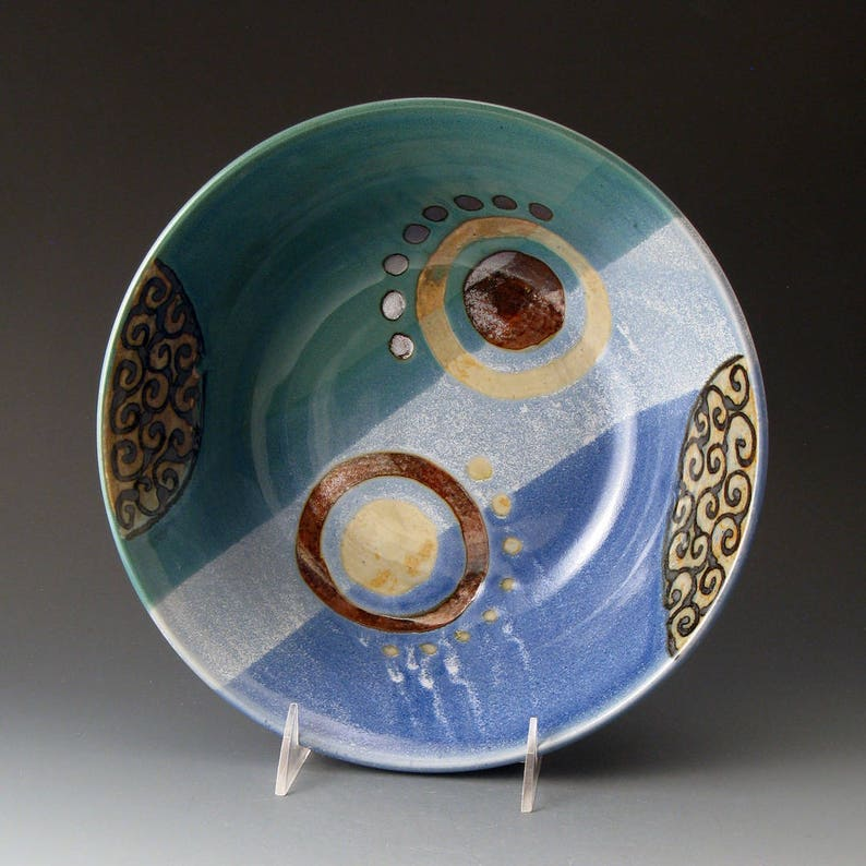 Clay Bowls Fine Art Ceramics Large Serving Bowl Handmade Ceramic Bowl Blue and Green Handcrafted