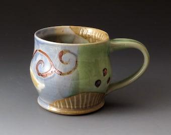 Ceramic Mug with Flower Design, Handmade Cup, Teacup, Drinkware, Mugs, Fine Art Ceramics