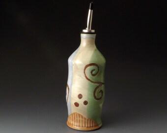 Oil or Vinegar Bottle, Ceramic Cruet with Flower Motif, Handmade Olive Oil Cruet, Covered Jar, Kitchen Accessories