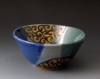 Small Ceramic Bowl, Blue and Green, Handmade Clay Bowl, Desert Bowl
