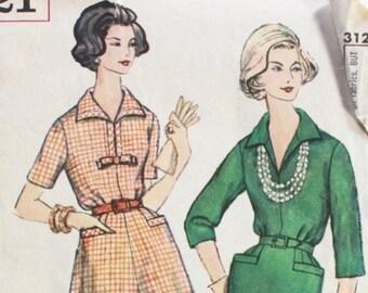 "1950s dress pattern / Simplicity 3121 / 1950s day dress w/ pockets / 1950s sewing pattern / bust 32"""