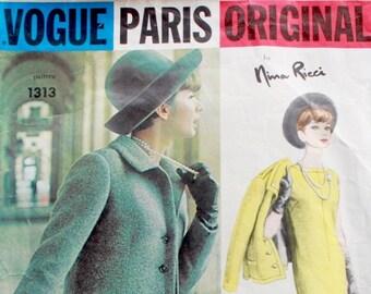 "Vogue Paris Original 1313 by Nina Ricci   1960s Sewing Pattern   Dress Skirt & Jacket   Size 12 Bust 32"" Waist 25"""