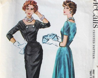 """1950s dress pattern / McCall's 4568 / 1950s cocktail dress / 1950s party wiggle dress / bust 39"""""""