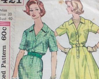 """1960s dress pattern / Simplicity 3421 / 60s shirtwaist dress / bust 40"""" waist 32"""""""