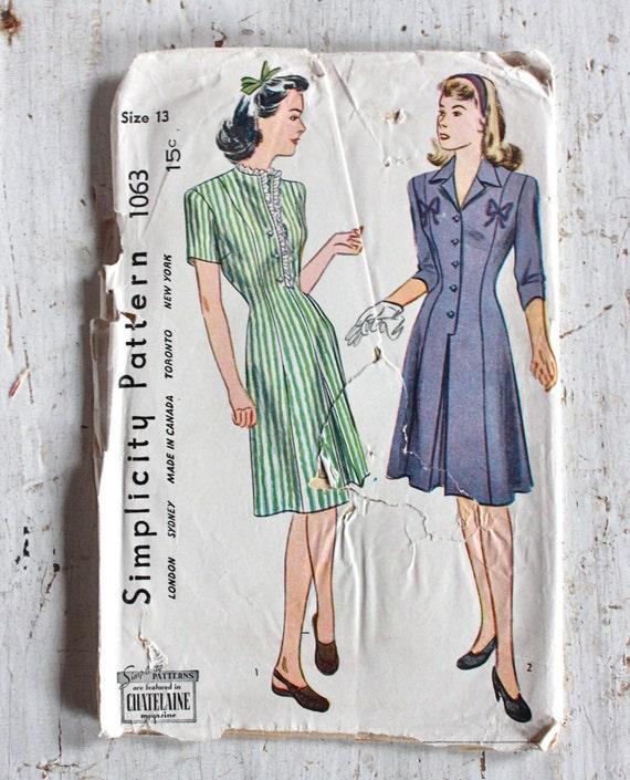 1940er Jahre Schnittmuster / 1940er Jahre Kleid Muster / Einfachheit 1063 / 31\